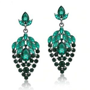 Prom Pageant Bridal Jewelry - Green Crystal Prom Pageant Bridal Occasion Earring